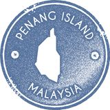 Penang Island map vintage stamp. Retro style handmade label, badge or element for travel souvenirs. Light blue rubber stamp with island map silhouette. Vector Royalty Free Stock Photography