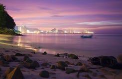 Penang Island. A view across the sea at Penang island in Malaysia, at night stock photography