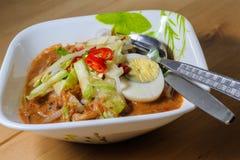 Penang Laksa - пряное блюдо Малайзии стоковые изображения rf