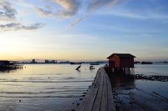 Penang, Malasia - 4 de septiembre de 2016: Opinión y paisaje urbano de la salida del sol Foto de archivo libre de regalías