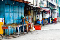 Penang, Malaysia architecture narrow streets. Pahang, Malaysia architecture narrow streets. Dirty moldy humidity cityscape stock images