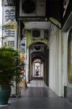 Penang, Malaysia architecture narrow streets. Pahang, Malaysia architecture narrow streets. Dirty moldy humidity cityscape stock photo