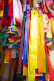 PENANG MALAYSIA-AUGUST 10, 2015:: det färgrika bandet för ber in Arkivbild