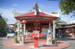 Penang, Malaysia - Dec 14, 2015: A small temple at the entrance of the Chew Jetty, Penang, Malaysia. Royalty Free Stock Photos