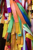 PENANG, MALAYSIA, DECEMBER 19 2017: Wish ribbons in chinese temple. PENANG, MALAYSIA, DECEMBER 19 2017: Wish ribbons in chinese buddhist Kek lok Si temple in Stock Photo