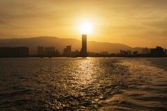 PENANG, MALAYSIA- JUL 18, 2014 : The beautiful sunset of Penang Royalty Free Stock Photos