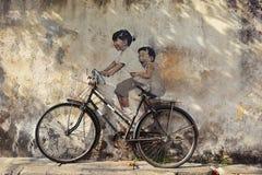 PENANG MALAYSIA - JULI 18, 2014: Gataväggmålning berättigad 'lite Royaltyfri Bild
