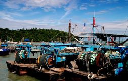 Penang, Malaysia: Teluk Bahang Village Fishing Boats Royalty Free Stock Photos