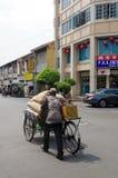 PENANG MALEZJA, KWIECIEŃ, - 26: rocznika trójkołowa retro riksza lub rower Zdjęcia Stock