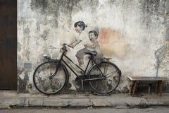 PENANG MALEZJA, LIPIEC, - 2018: sławny 3d streetart bicykl a obraz royalty free