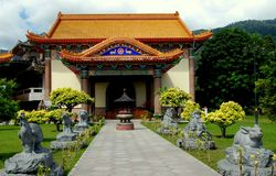Penang, Malezja: Pawilon przy Kek Lok Si świątynią Obrazy Royalty Free