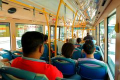 Penang :People on bus Royalty Free Stock Images