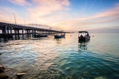 Penang Przerzuca most widok od brzeg George Town Penang, Malezja Zdjęcia Royalty Free