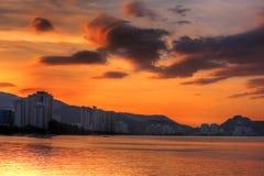 penang solnedgång royaltyfria bilder
