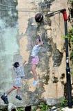 """Penang Street Art """"Children Playing Basketball"""" Royalty Free Stock Photos"""