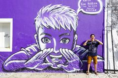 Penang Street Art, Georgetown Attractions stock photography