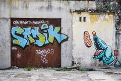 Penang Street Art, Georgetown Attractions stock photo