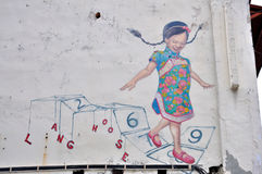 "Penang Street Art ""Happy Girl"" Royalty Free Stock Images"