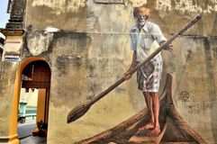 "Penang Street Art ""India Boatman"" Royalty Free Stock Photo"
