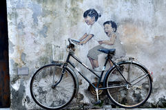 """Penang Street Art """"Kids on Bicycle"""" royalty free stock photos"""