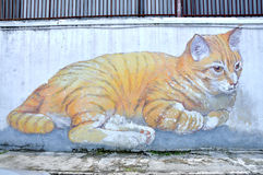"Penang Street Art ""Skippy, the Giant Cat"" Royalty Free Stock Image"