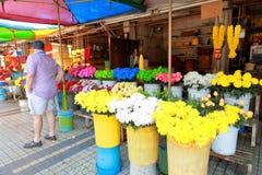 Penang : Street vendor selling fresh flowers Royalty Free Stock Photo
