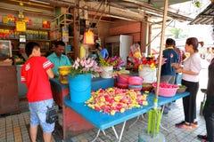 Penang : Street vendor selling fresh flowers Royalty Free Stock Image