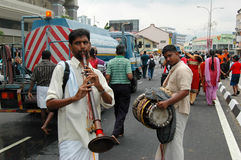 Penang Thaipusam street musicians Royalty Free Stock Photos
