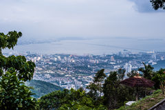 Penang town from Bukit Bendera Royalty Free Stock Photo