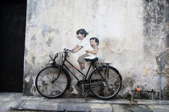 Penang wall graffiti Royalty Free Stock Photos