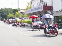 Penangstraat met trishaws Stock Foto