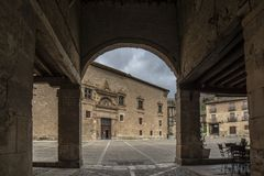 Entrance at Main Square of Penaranda de Duero in province of Bur. Penaranda de Duero, Burgos, Spain  April 2015: entrance at Main Square of Penaranda de Duero in Stock Images