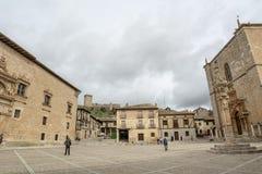 Main Square of Penaranda de Duero in province of Burgos, Spain. Penaranda de Duero, Burgos, Spain  April 2015: Main Square of Penaranda de Duero with its typical Stock Photography