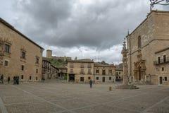 Main Square of Penaranda de Duero in province of Burgos, Spain. Penaranda de Duero, Burgos, Spain  April 2015: Main Square of Penaranda de Duero with its typical Stock Image
