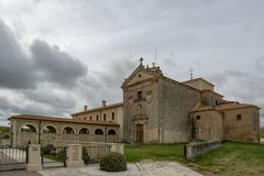 View of the old monastery today residence of old people of Peñaranda de Duero. Penaranda de Duero, Burgos, Spain April 2015: view of the old monastery today royalty free stock image