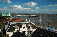 Penarth pier. And houses, horizontally framed shot royalty free stock images