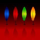 Penas azuis, vermelhas, verdes, alaranjadas com uma sombra Fotografia de Stock Royalty Free