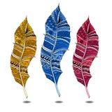Penas coloridas da garatuja ajustadas Fotos de Stock Royalty Free