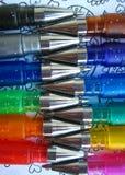 Penas coloridas do gel fotografia de stock
