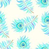 Penas coloridas do pavão Teste padrão sem emenda do vetor Fotografia de Stock
