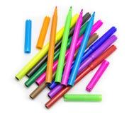 Penas coloridos coloridas de feltro das penas de marcadores Fotografia de Stock