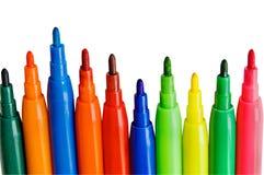 Penas da cor no branco Imagens de Stock Royalty Free
