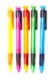 Penas de ballpoint coloridas foto de stock royalty free