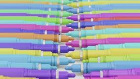 Penas de desenho mecânico variamente coloridas de Finepoint em linhas do offset Fotografia de Stock Royalty Free