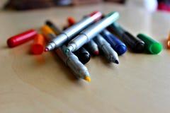 Penas de marcador coloridos Fotografia de Stock