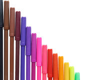 Penas de marcador da cor isoladas no fundo branco Imagem de Stock