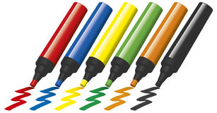 Penas de marcador plásticas Fotos de Stock