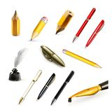 Penas e ícones do vetor dos lápis Imagens de Stock