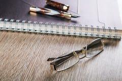 Penas e diários de fonte com tampa de couro e Foto de Stock Royalty Free