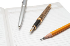 Penas e lápis Fotos de Stock Royalty Free